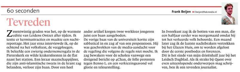 Afscheidscolumn in Leidsch Dagblad